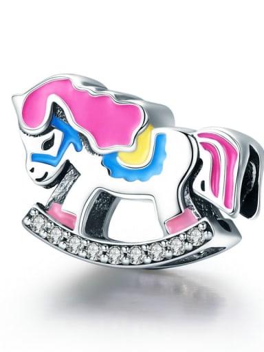 Rocking Trojan horse 925 silver rainbow charm