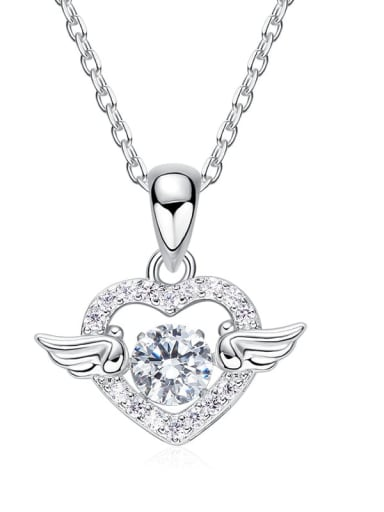 925 Sterling Silver With Platinum Plated Cute Angel's Wings Necklaces