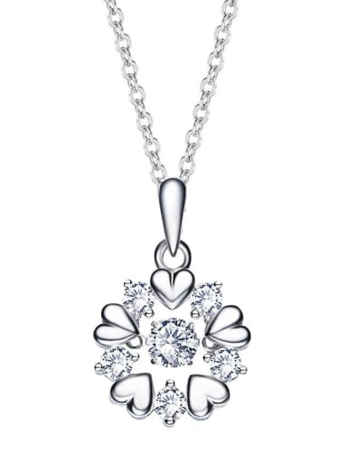 925 Sterling Silver With Platinum Plated Delicate Flower Dancing stone Necklaces