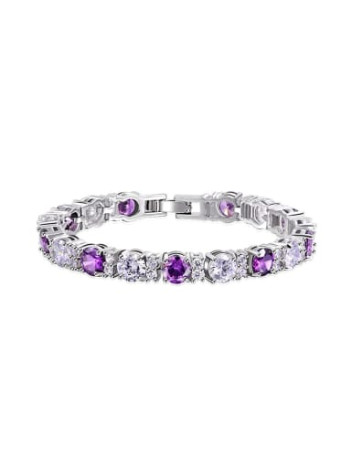 AAA+Cubic Zircon,Purple,Tennis round Delicate Bracelet,Platinum plated