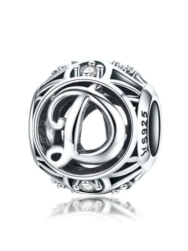925 silver letter charm