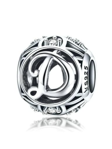 D 925 silver letter charm
