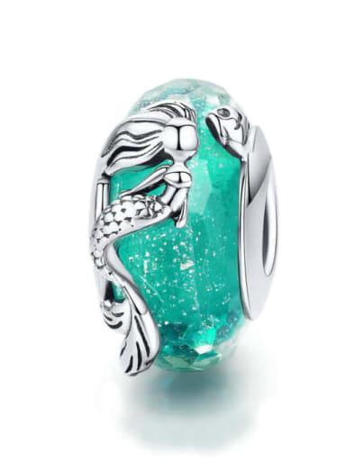 Mermaid glazed beads 925 silver marine charm