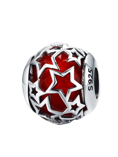 Red 925 silver star charm
