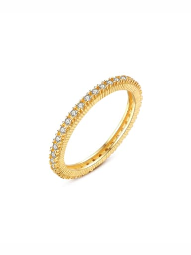 925 Sterling Silver With Gold Plated Simplistic Band Ring