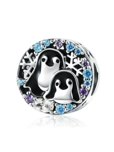 925 silver cute penguin charm