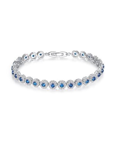 AAA+Cubic Zircon,blue,Tennis round Delicate Bracelet,Platinum plated