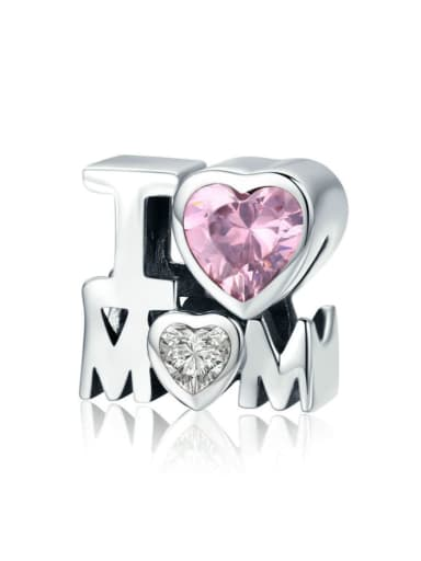 925 Silver I LOVE MOM charm