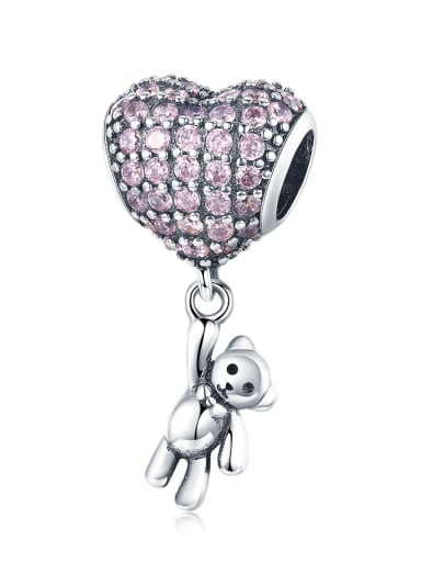 SCC1054 925 Sterling Silver With Antique Silver Plated Classic Heart Charm