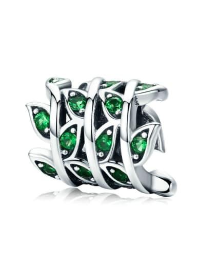 925 silver green grass charm