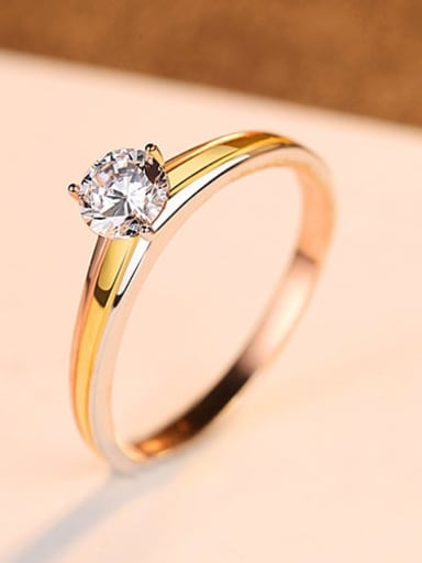 925 Sterling Silver With Gold Plated Classic Round Engagement Rings