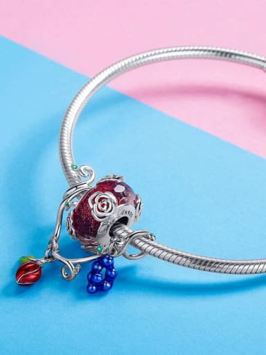 Hanging Glass Bead Bracelet 20cm 925 Silver Fruit charm