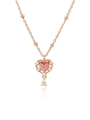 925 Sterling Silver With Rose Gold Plated Luxury Heart Necklaces