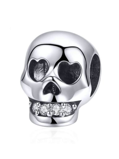 925 silver cute skull charm