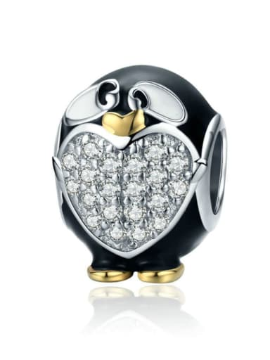 925 silver cute penguin charm