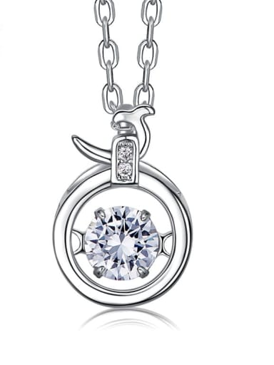 925 Sterling Silver With Platinum Plated Classic Constellation Dancing stone Necklaces
