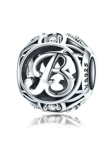 B 925 silver letter charm