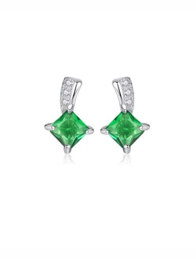 925 Sterling Silver With Cubic Zirconia Delicate Square Stud Earrings