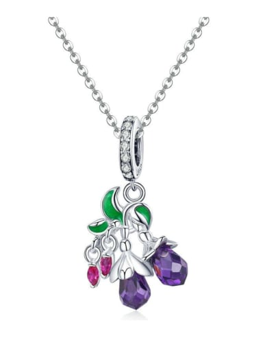 Pendant Chain 925 silver cute flower and fruit charm