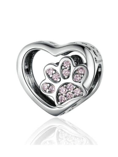 925 silver cute pet footprints charm