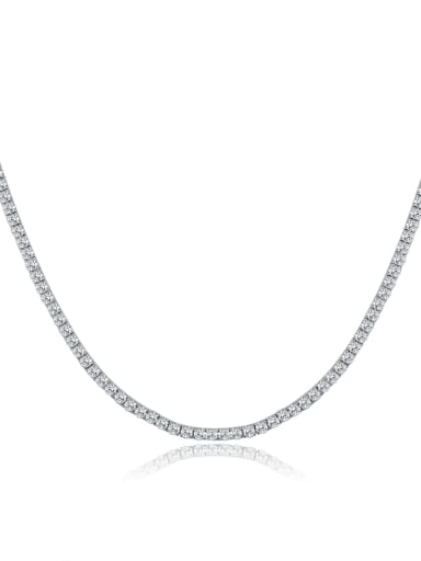 AAA+Cubic Zircon 3.0mm,White,Tennis necklaces,Platinum-plated,Four-claw inlay