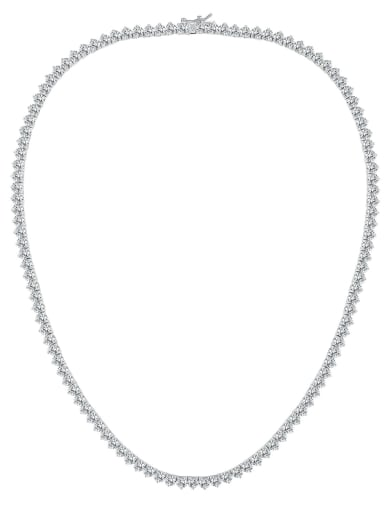 AAA+Cubic Zircon 4.0mm,White,Tennis necklaces,Platinum-plated,Three-claw inlay