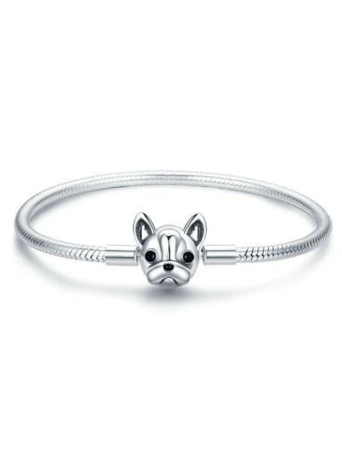 18cm 925 Silver Cute Dog Chain Bracelet