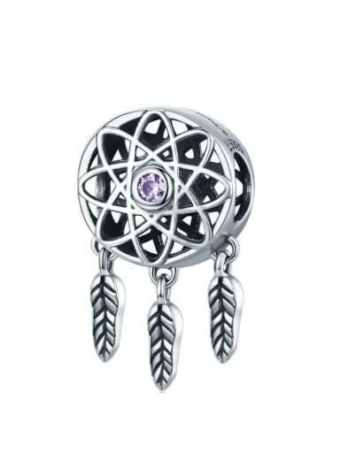 Purple 925 silver artificial zircon charm