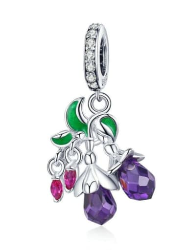 925 silver cute flower and fruit charm