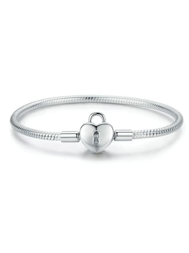 925 silver cute heart lock element basic bracelet