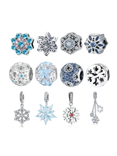 925 silver cute snowflake element accessories