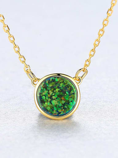 925 Sterling Silver With Opal Simplistic Round Necklace