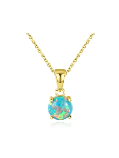 925 Sterling Silver With Opal Simplistic Round Necklaces