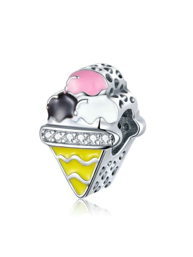 925 silver artificial zircon cute ice cream charm