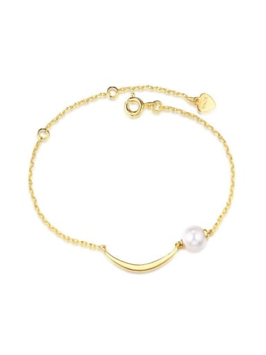 925 Sterling Silver With Gold Plated Delicate Freshwater Pearl Moon Bracelet