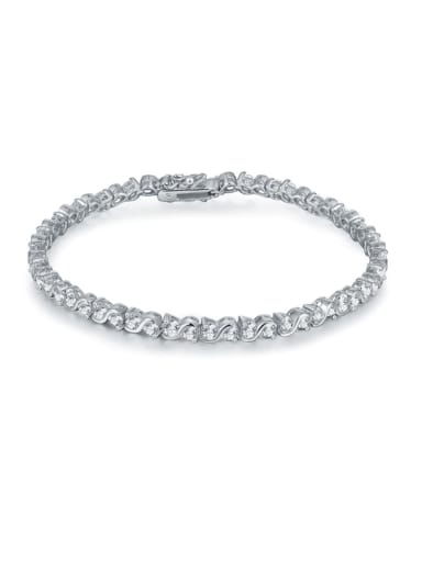 AAA+Cubic Zircon 3.0mm,Round,White,Tennis bracelets ,18k-Gold plated