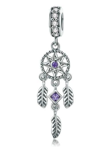 Dark purple 925 silver artificial zircon charm