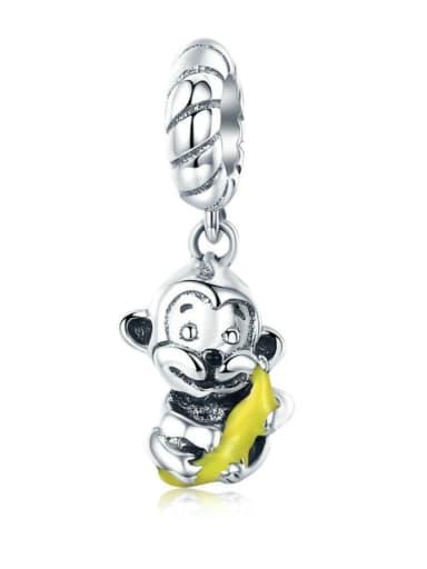 925 silver cute monkey charm