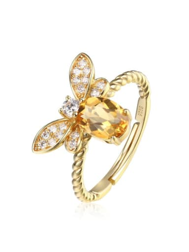 925 Sterling Silver With 5*7mm Citrine Cute Bee free size Ring