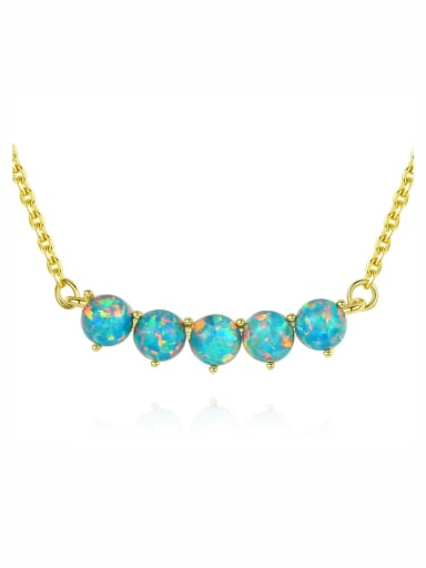 925 Sterling Silver With Gold Plated opal Necklaces