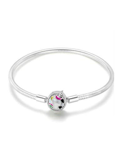 925 silver cute unicorn Chain Bracelet