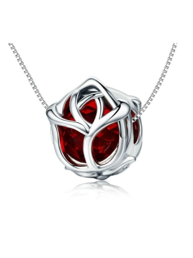 925 Silver Romantic Red Rose charm