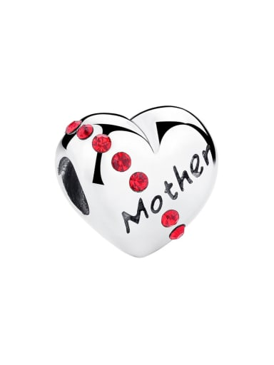 Mother 925 silver cute heart charm
