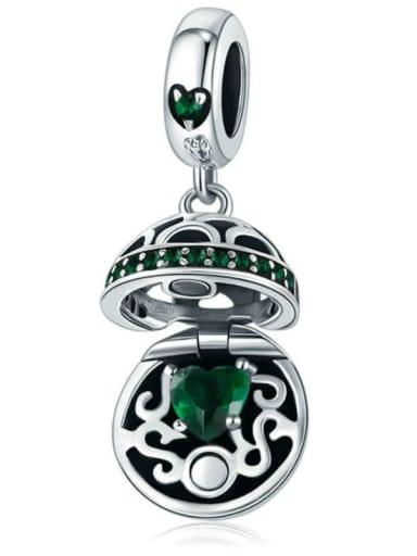 Green 925 silver love charm