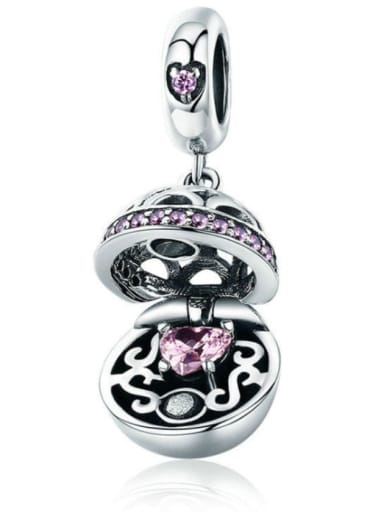 Pink 925 silver love charm