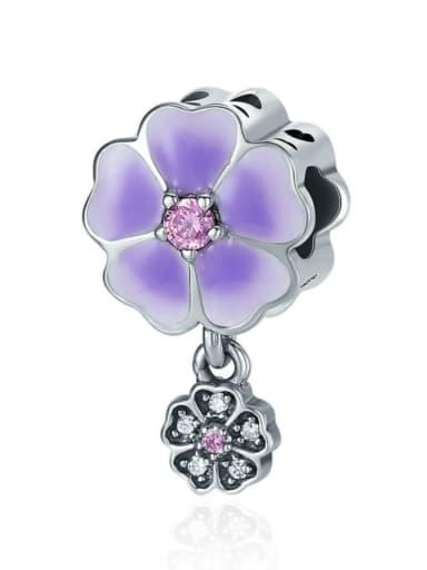 925 silver purple flower charm