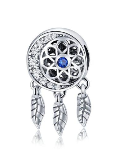Blue 925 silver artificial zircon charm