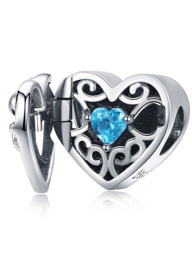SCC1053 925 Sterling Silver With Antique Silver Plated Classic Heart Charm