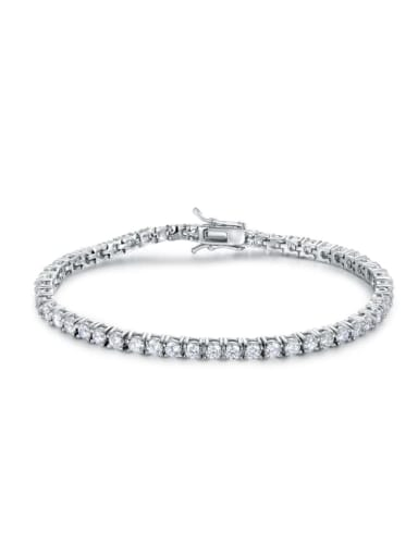 AAA+Cubic Zircon 3.0mm,White,Tennis Bracelet,Four-claw inlay