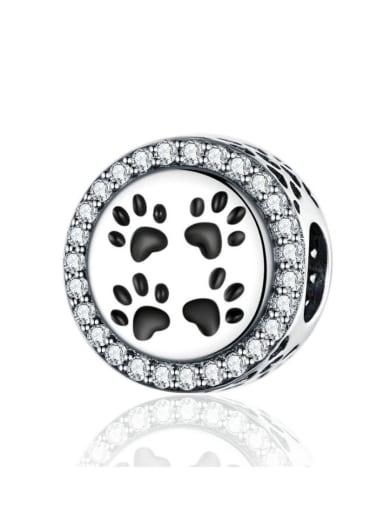 925 silver cute paw print charm